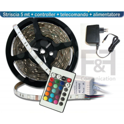KIT 5MT STRIP LED 5050 RGB (ALIMENTATORE+TELECOMANDO)