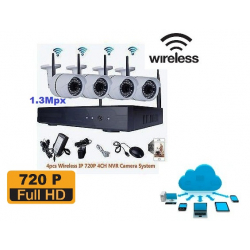 KIT WIRELESS 4 TELECAMERE 1.3 Mpx
